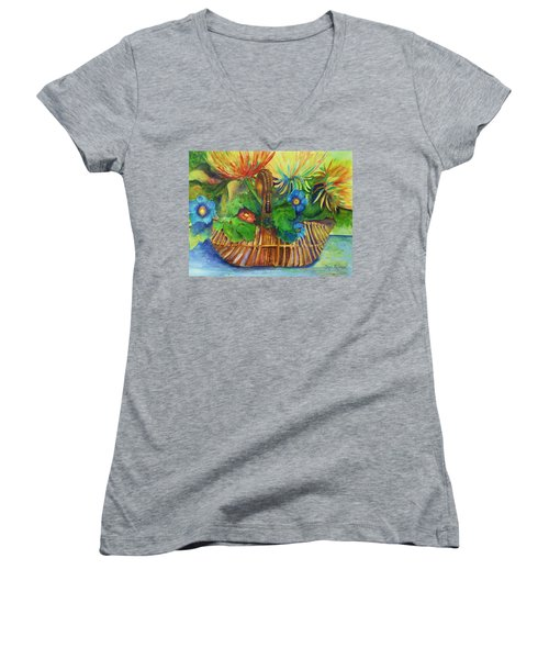 Flowers In My Basket Women's V-Neck T-Shirt