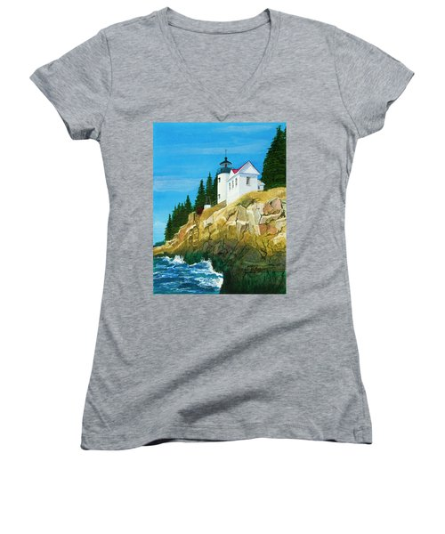 Bass Harbor Lighthouse Women's V-Neck T-Shirt (Junior Cut) by Mike Robles
