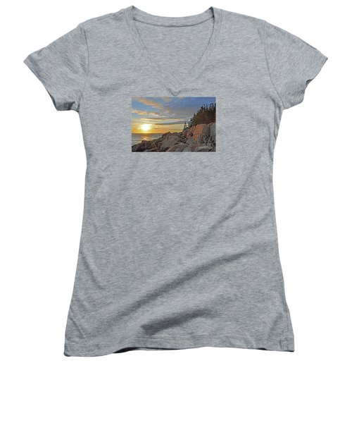 Women's V-Neck T-Shirt (Junior Cut) featuring the photograph Bass Harbor Lighthouse Sunset Landscape by Glenn Gordon