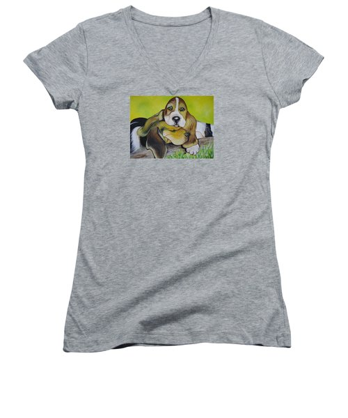 Bassett Hound Pups Women's V-Neck T-Shirt (Junior Cut) by Leslie Manley