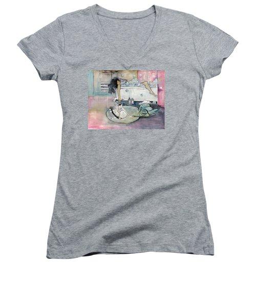 Bath Time Women's V-Neck T-Shirt (Junior Cut) by Leela Payne