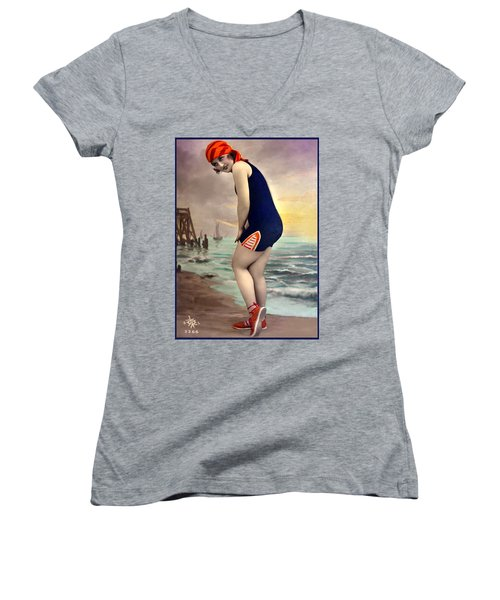 Bathing Beauty In Orange And Navy Bathing Suit Women's V-Neck (Athletic Fit)