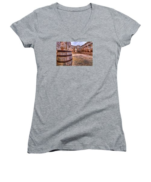 Women's V-Neck T-Shirt (Junior Cut) featuring the photograph Battalion Barrell by Tim Stanley