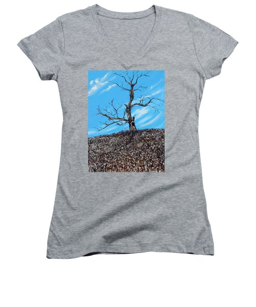 Women's V-Neck T-Shirt (Junior Cut) featuring the painting Battle Scars by Meaghan Troup