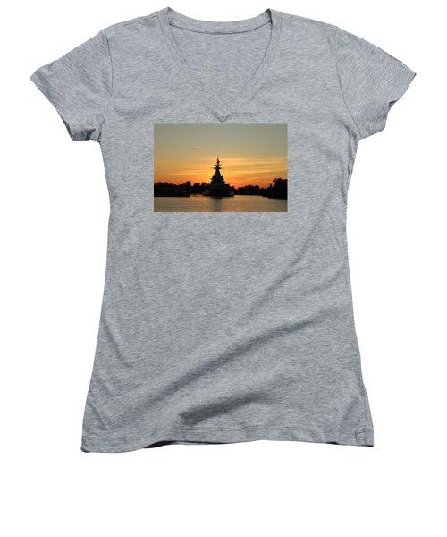 Women's V-Neck T-Shirt (Junior Cut) featuring the photograph Battleship At Sunset by Cynthia Guinn