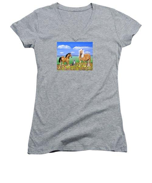 Bay Colt Golden Palomino And Pal Women's V-Neck T-Shirt (Junior Cut) by Phyllis Kaltenbach