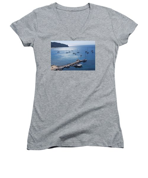 Women's V-Neck T-Shirt (Junior Cut) featuring the photograph Bay Of Porto by George Katechis