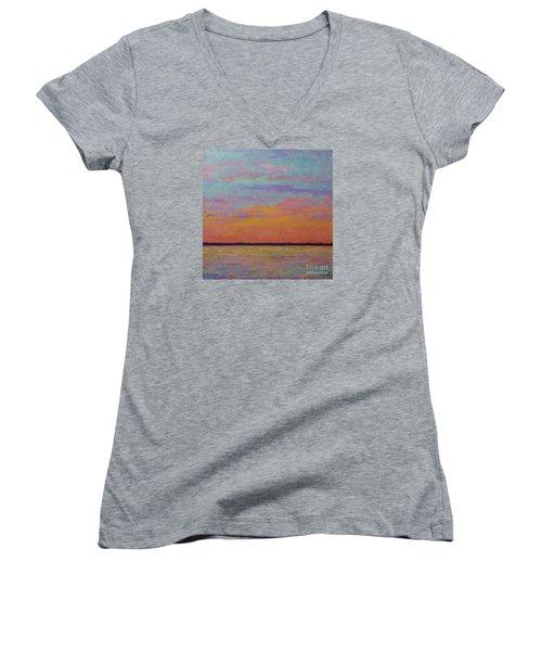 Bay Sunset Women's V-Neck T-Shirt (Junior Cut) by Gail Kent
