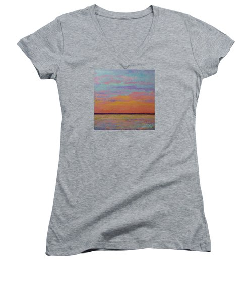 Bay Sunset Women's V-Neck (Athletic Fit)