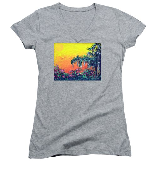 Women's V-Neck T-Shirt (Junior Cut) featuring the painting Bayou Honeymoon by Alys Caviness-Gober