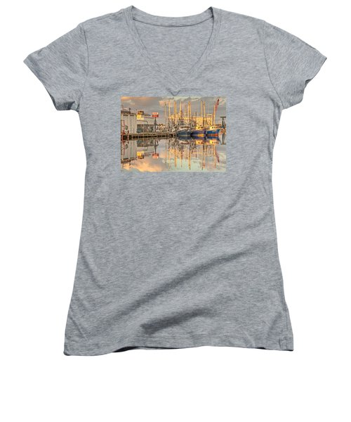Bayou La Batre' Al Shrimp Boat Reflections 39 Women's V-Neck T-Shirt