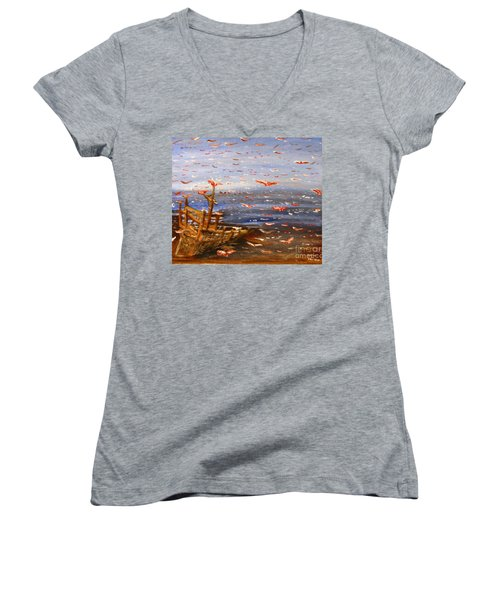 Beach Boat And Birds Women's V-Neck T-Shirt