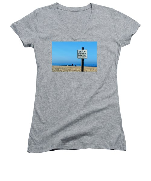 Beach Curfew Women's V-Neck T-Shirt
