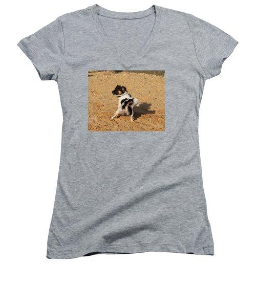 Beach Dog Pose Women's V-Neck (Athletic Fit)