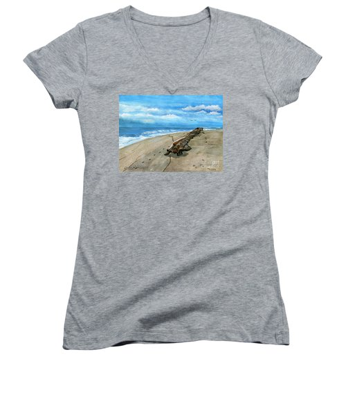 Women's V-Neck T-Shirt (Junior Cut) featuring the painting Beach Drift Wood by Melly Terpening
