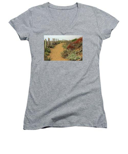 Women's V-Neck T-Shirt (Junior Cut) featuring the photograph Beach Dune  by Kate Brown