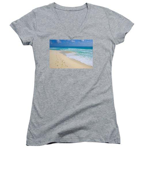 Beach Footprints Women's V-Neck