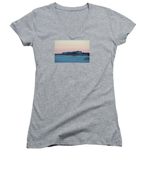 Beach Houses Women's V-Neck T-Shirt (Junior Cut) by Cynthia Guinn
