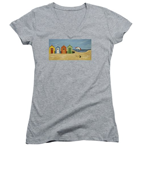 Beach Huts Women's V-Neck T-Shirt