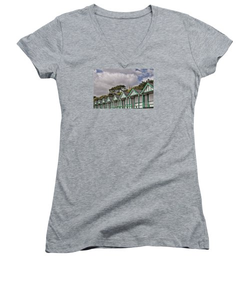 Beach Huts Langland Bay Swansea 3 Women's V-Neck T-Shirt (Junior Cut) by Steve Purnell