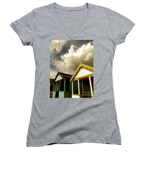 Women's V-Neck T-Shirt (Junior Cut) featuring the photograph Beach Huts by Vicki Spindler