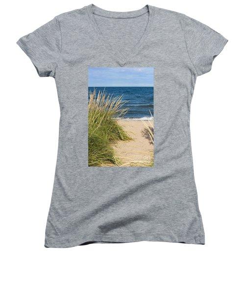 Beach Path Women's V-Neck T-Shirt (Junior Cut) by Barbara McMahon