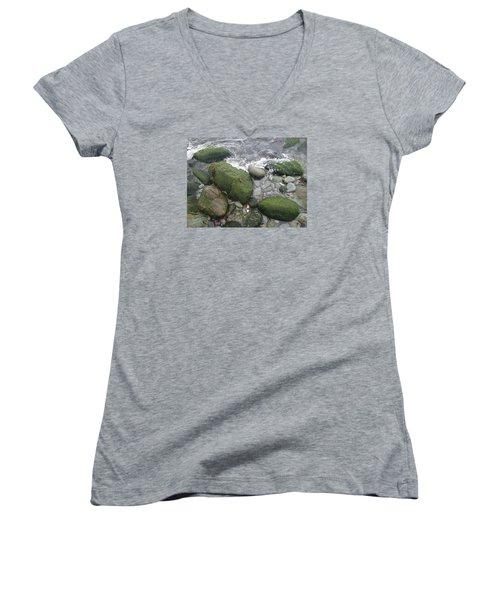 Women's V-Neck T-Shirt (Junior Cut) featuring the photograph Beach Rocks by Robert Nickologianis