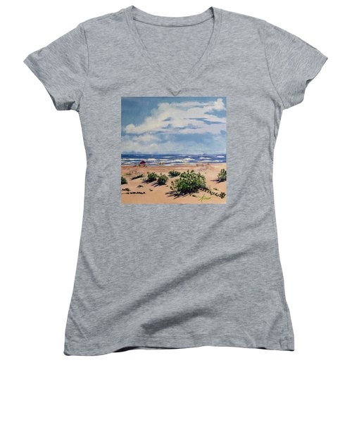 Beach Scene On Galveston Island Women's V-Neck