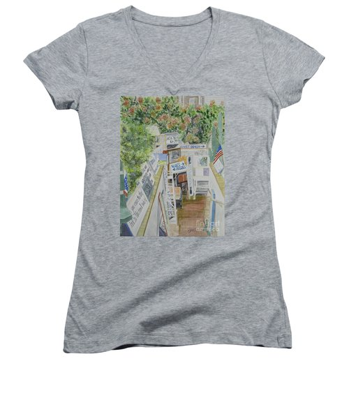 Women's V-Neck T-Shirt (Junior Cut) featuring the painting Beach Signs by Carol Flagg