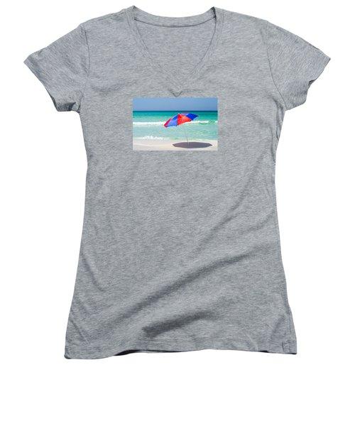 Beach Umbrella Women's V-Neck T-Shirt (Junior Cut) by Shelby  Young
