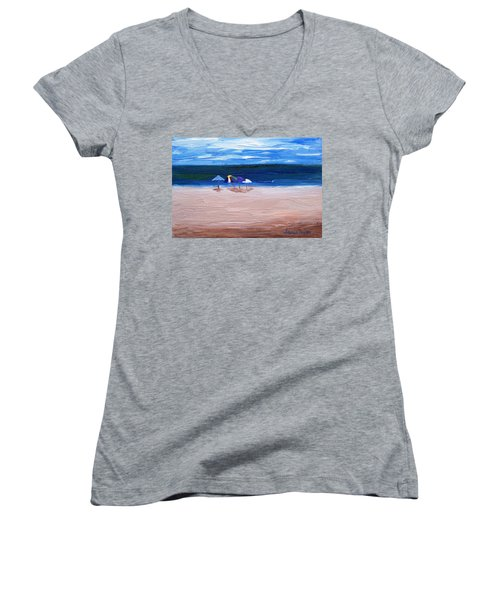 Women's V-Neck T-Shirt (Junior Cut) featuring the painting Beach Umbrellas by Jamie Frier