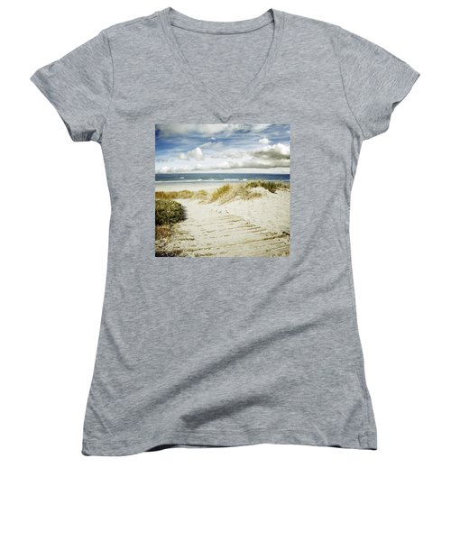 Beach View Women's V-Neck (Athletic Fit)