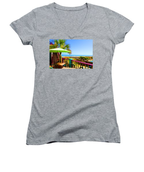 Beach View Of The Ocean By Jan Marvin Studios Women's V-Neck T-Shirt