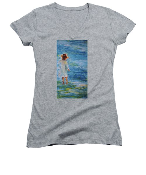 Beach Walker Women's V-Neck T-Shirt