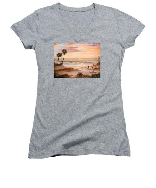 Beachcombers Women's V-Neck T-Shirt (Junior Cut) by Duane R Probus