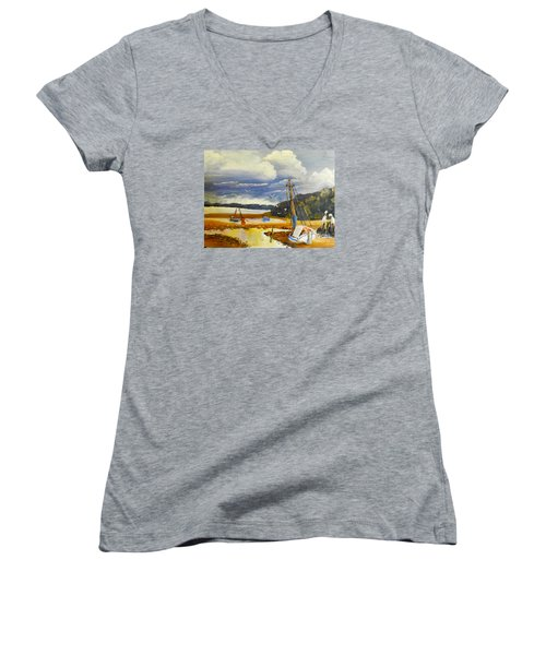 Beached Boat And Fishing Boat At Gippsland Lake Women's V-Neck T-Shirt (Junior Cut) by Pamela  Meredith