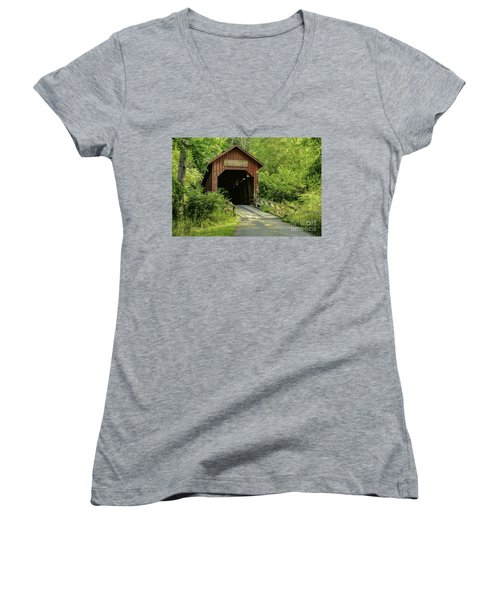 Bean Blossom Covered Bridge Women's V-Neck (Athletic Fit)