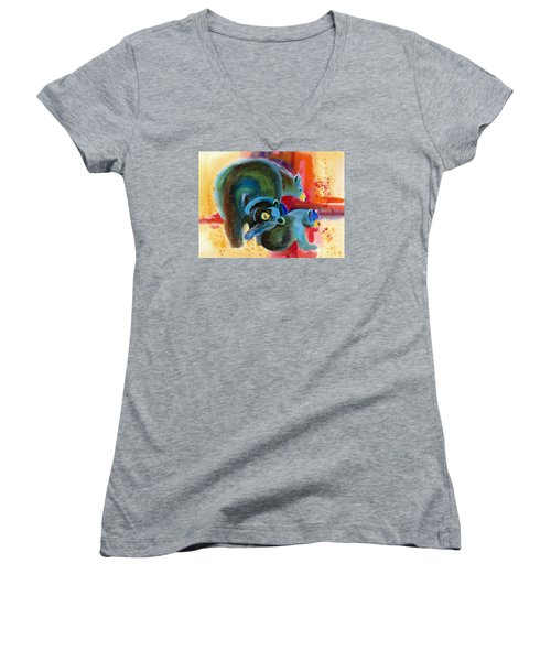 Women's V-Neck T-Shirt (Junior Cut) featuring the painting Bear Family In Red by Kathy Braud