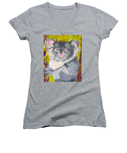 Koala Hug Women's V-Neck T-Shirt (Junior Cut) by Meryl Goudey