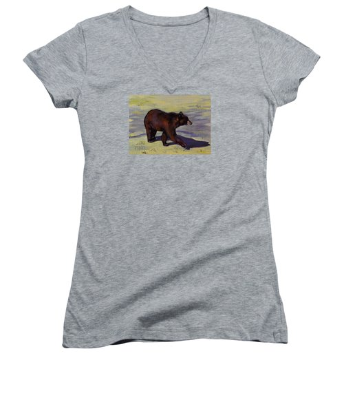 Women's V-Neck T-Shirt (Junior Cut) featuring the painting Bear Shadows by Pattie Wall