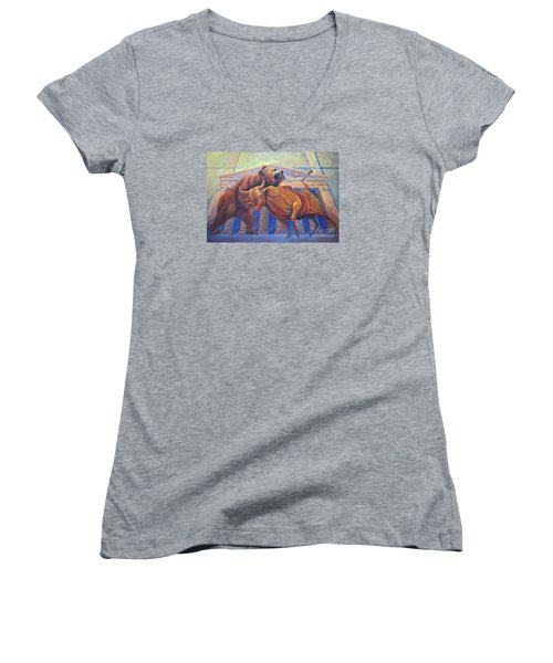 Bear Vs Bull Women's V-Neck T-Shirt (Junior Cut) by Rob Corsetti