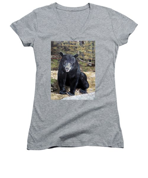 Women's V-Neck T-Shirt (Junior Cut) featuring the painting Bear - Wildlife Art - Ursus Americanus by Jan Dappen