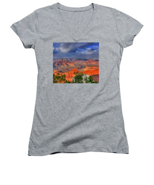 Women's V-Neck T-Shirt (Junior Cut) featuring the painting Beautiful Canyon by Bruce Nutting