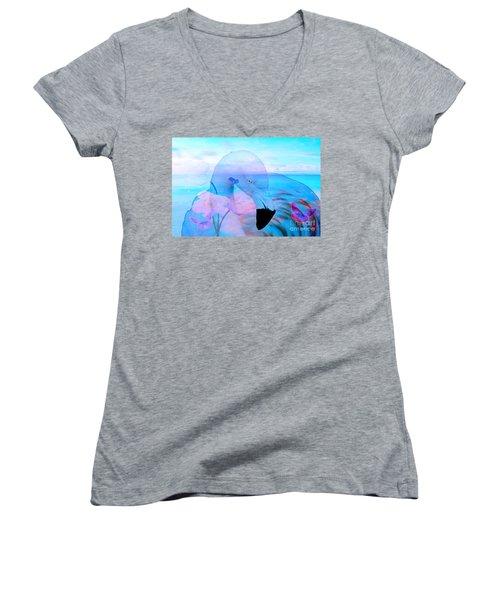 Beautiful Flamingo Women's V-Neck T-Shirt (Junior Cut) by Annie Zeno