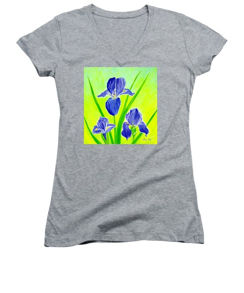 Beautiful Iris Flowers Card Women's V-Neck (Athletic Fit)