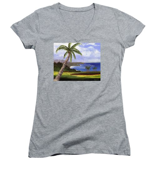 Women's V-Neck T-Shirt (Junior Cut) featuring the painting Beautiful Kauai by Jamie Frier