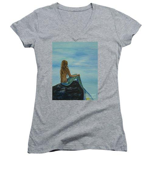 Beautiful Magic Mermaid Women's V-Neck T-Shirt (Junior Cut) by Leslie Allen
