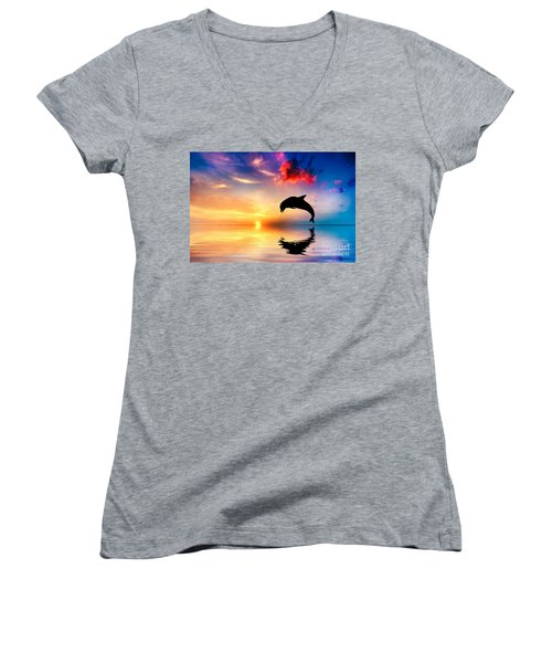 Beautiful Ocean And Sunset With Dolphin Jumping Women's V-Neck T-Shirt