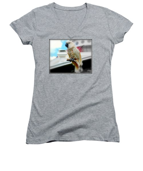Beautiful Salmon-crested Cockatoo Women's V-Neck (Athletic Fit)
