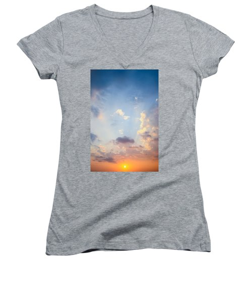 Beautiful Orange Sunset Women's V-Neck T-Shirt